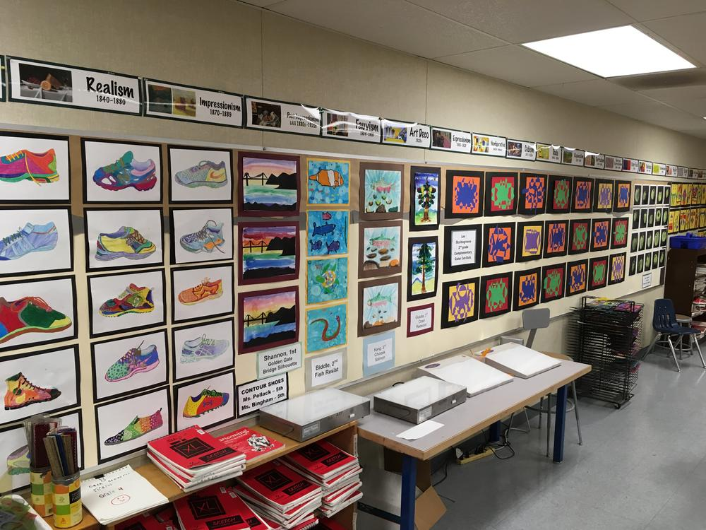 Wall of student work